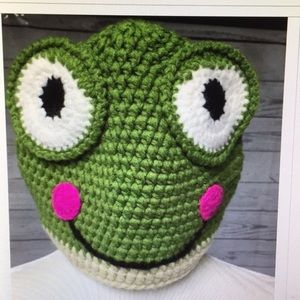 Handmade Frog Beenie Textured Smiling Hat